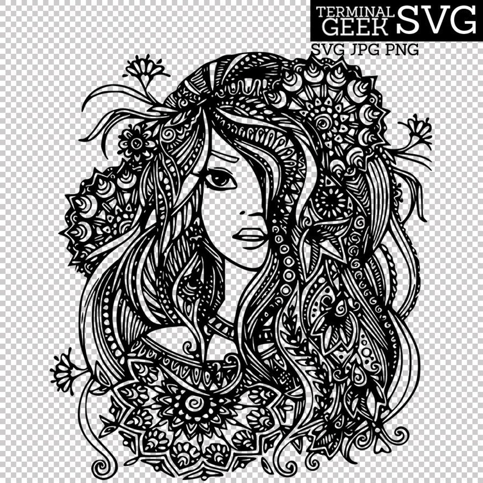 Mermaid Flower Girl Fairy Zentangle Mandala SVG PNG JPG