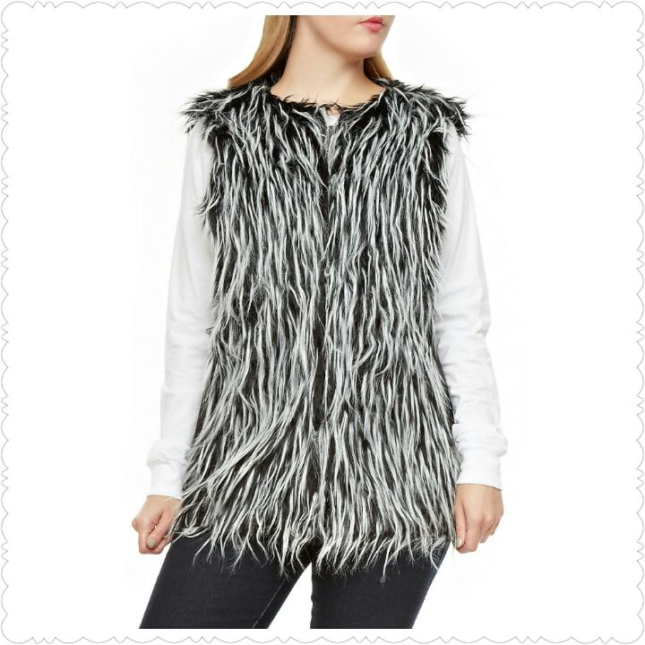 Two Tone Shaggy Faux Fur Vest from The Best of Both Worlds Boutique. This chic and stylish vest would look cute with a solid top and fleece-lined leggings. #scottsmarketplace