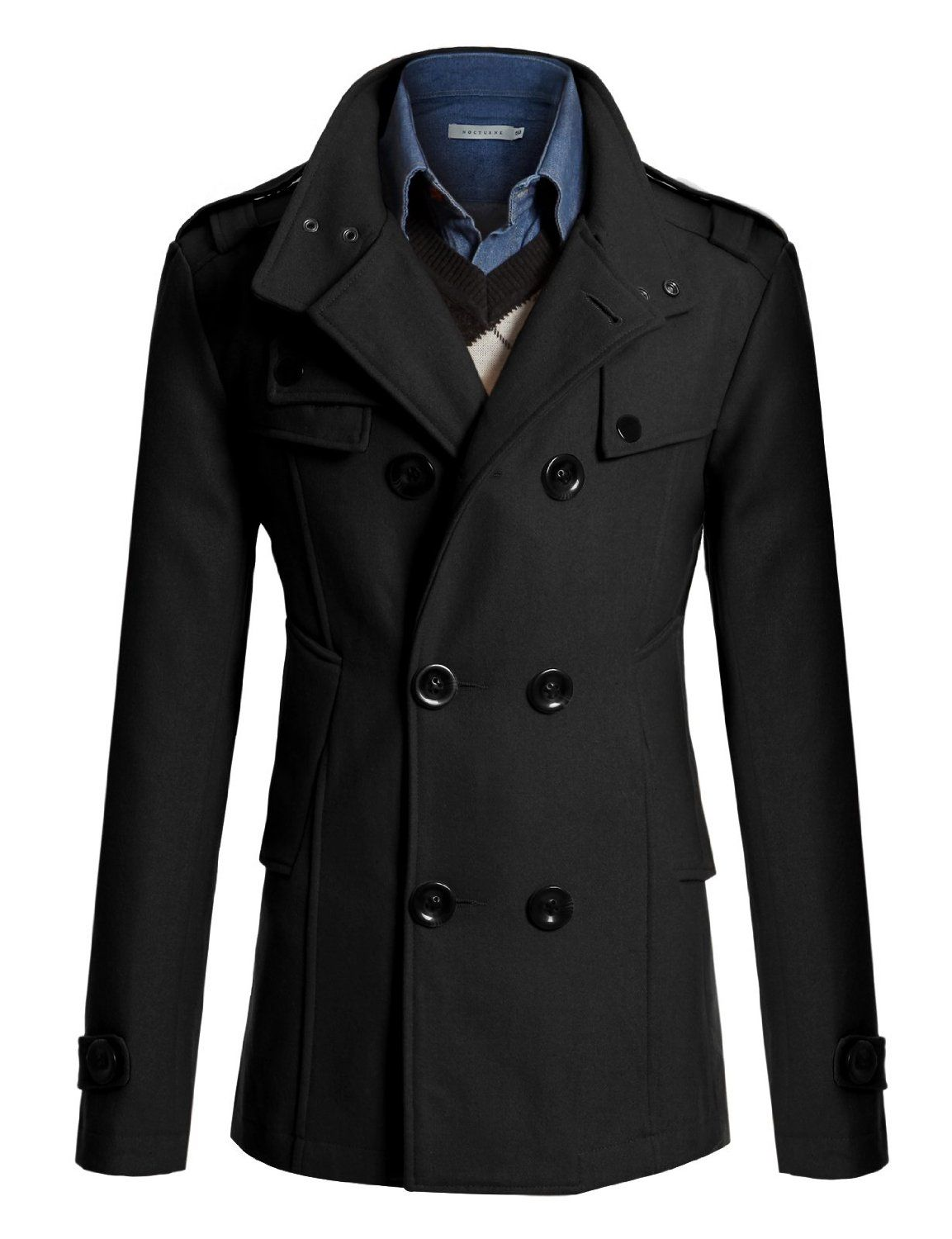 Amazon.com: Doublju Mens Half Trench Coat: Clothing | Fashion ...