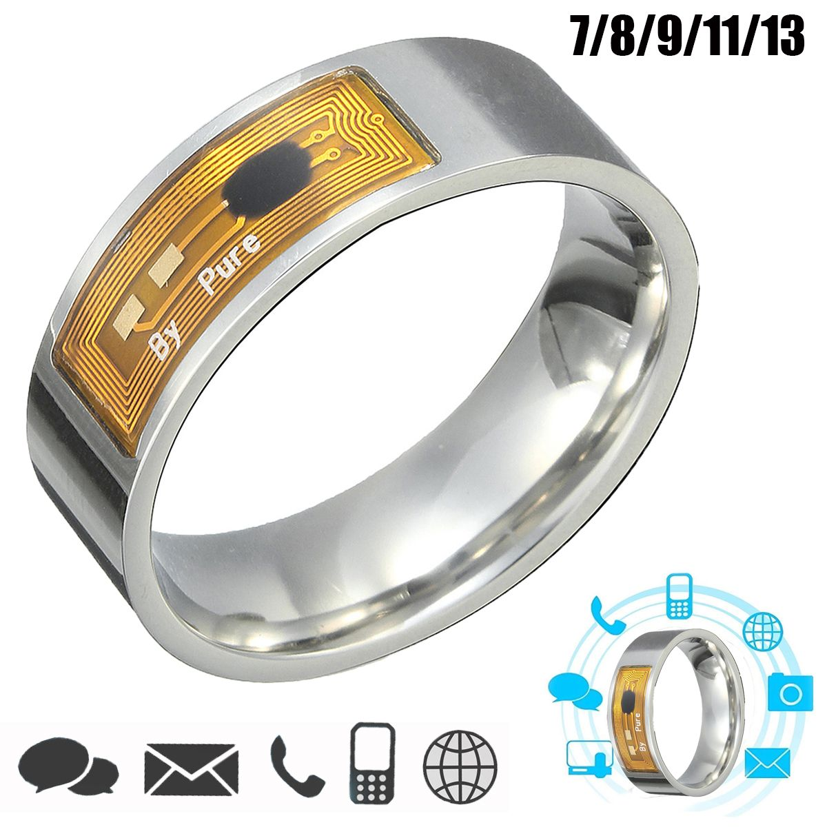 7891113 Size NFC Tag Smart Magic Finger Ring for Samsung Android