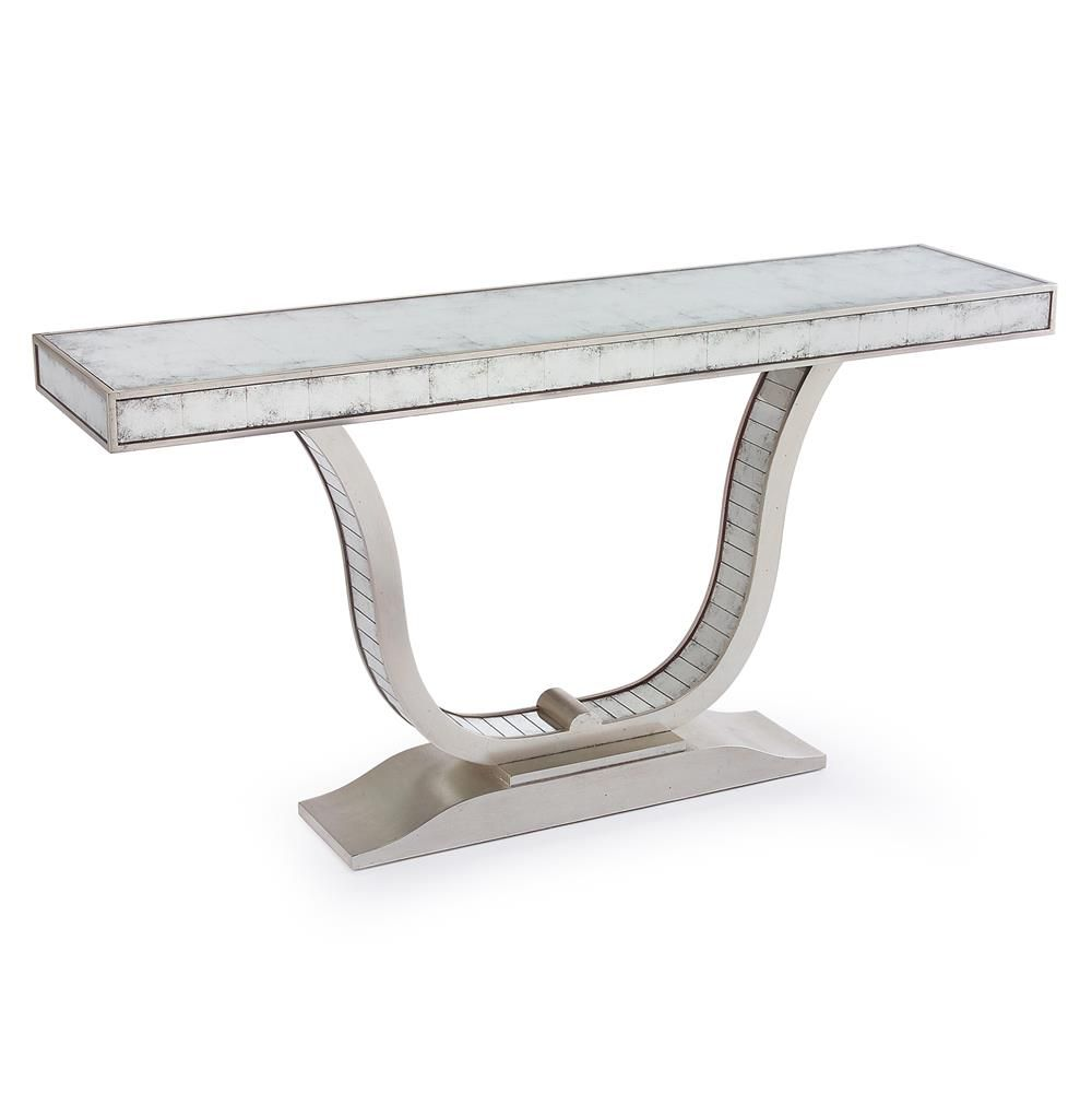 hollywood regency mirrored furniture. Malone Hollywood Regency U Shaped Silver Leaf Mirror Console Table Mirrored Furniture