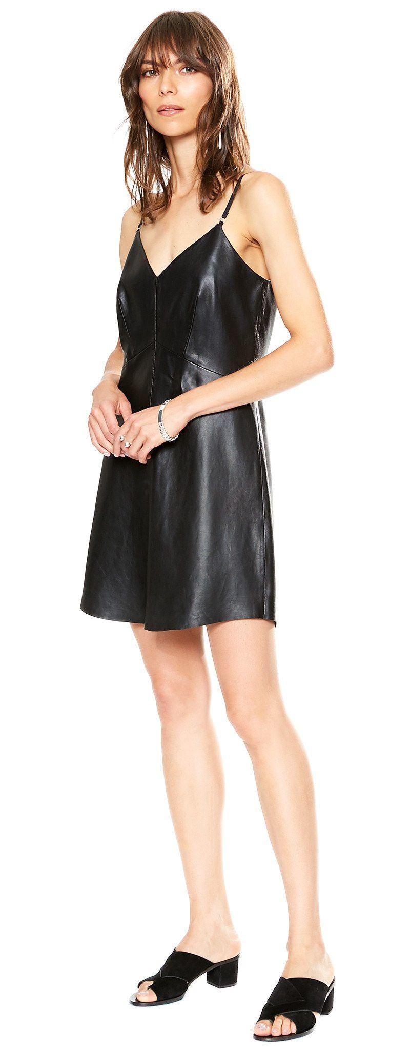 Veda Slip Leather Dress Black Cloth