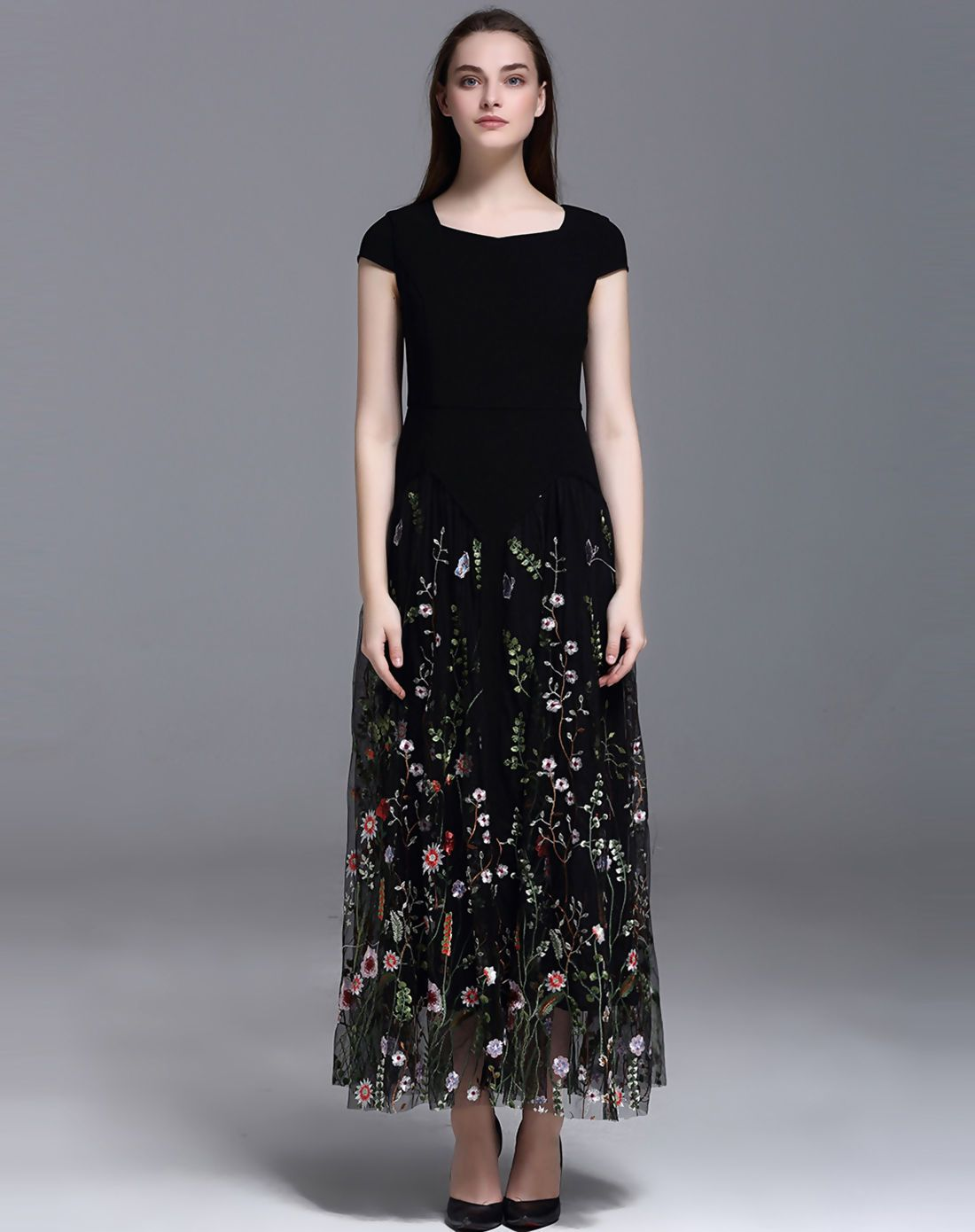 Black floral embroidery high waist maxi dress floral embroidery