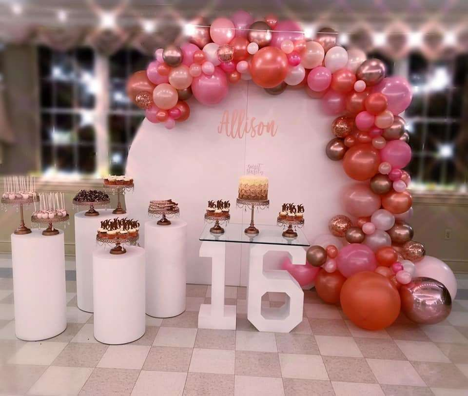 Rose Gold Sweet 16 Birthday Party Ideas Photo 2 Of 19 In 2021 Sweet Sixteen Party Ideas Decoration Sweet 16 Party Decorations Sweet Sixteen Party Themes