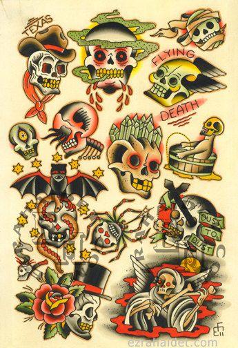 Traditional Tattoo Flash Print 2011 Skulls by ...