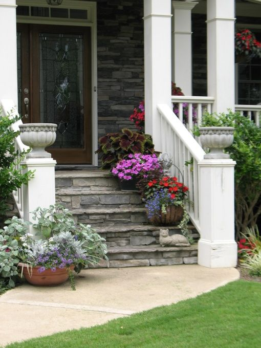 Our front yard front yard landscaping containers front for Landscaping front steps