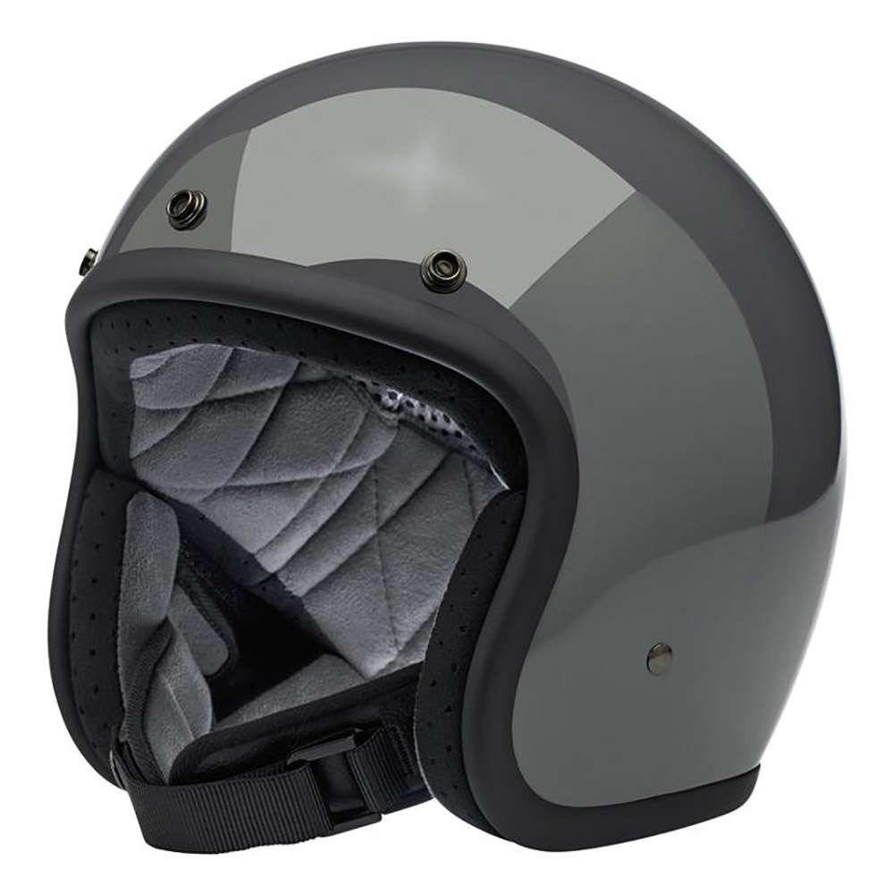 Biltwell Bonanza Helmet Gloss Storm Grey Open Face Helmets Motorcycle Helmets Vintage Helmet