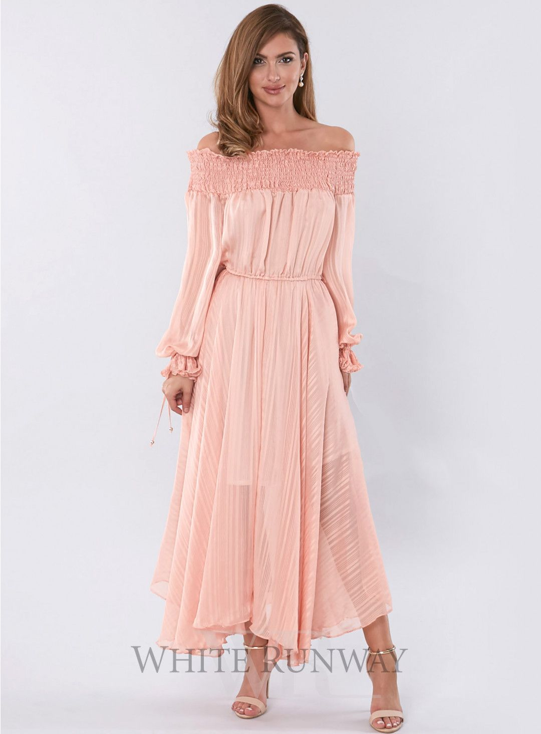 f6b0138840bd A gorgeous maxi dress by Pasduchas. A flowy off shoulder dress featuring  loose billowing sleeves and pleated cuffs.