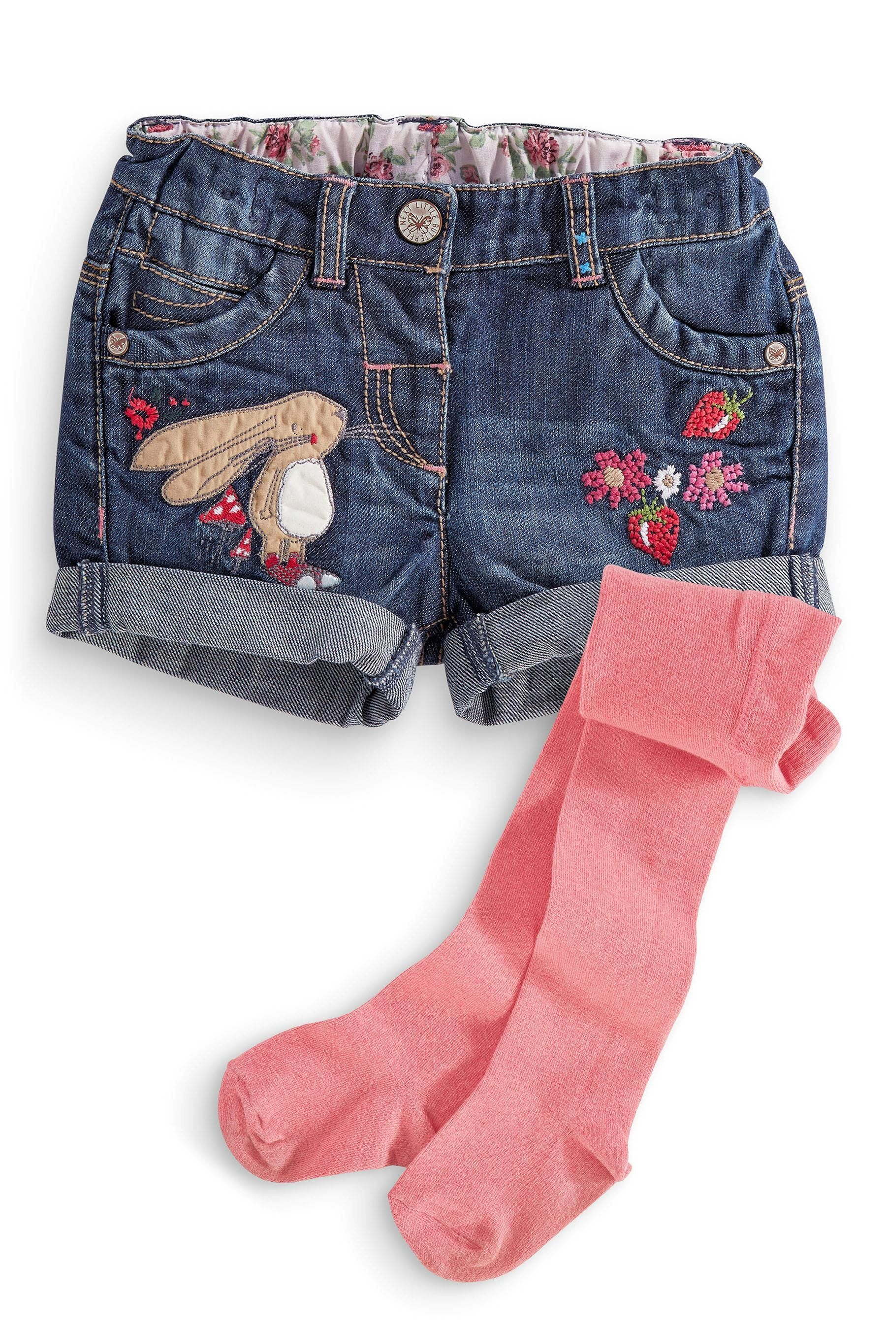 Buy Bunny Denim Shorts And Tights Set 3mths 6yrs from the Next UK