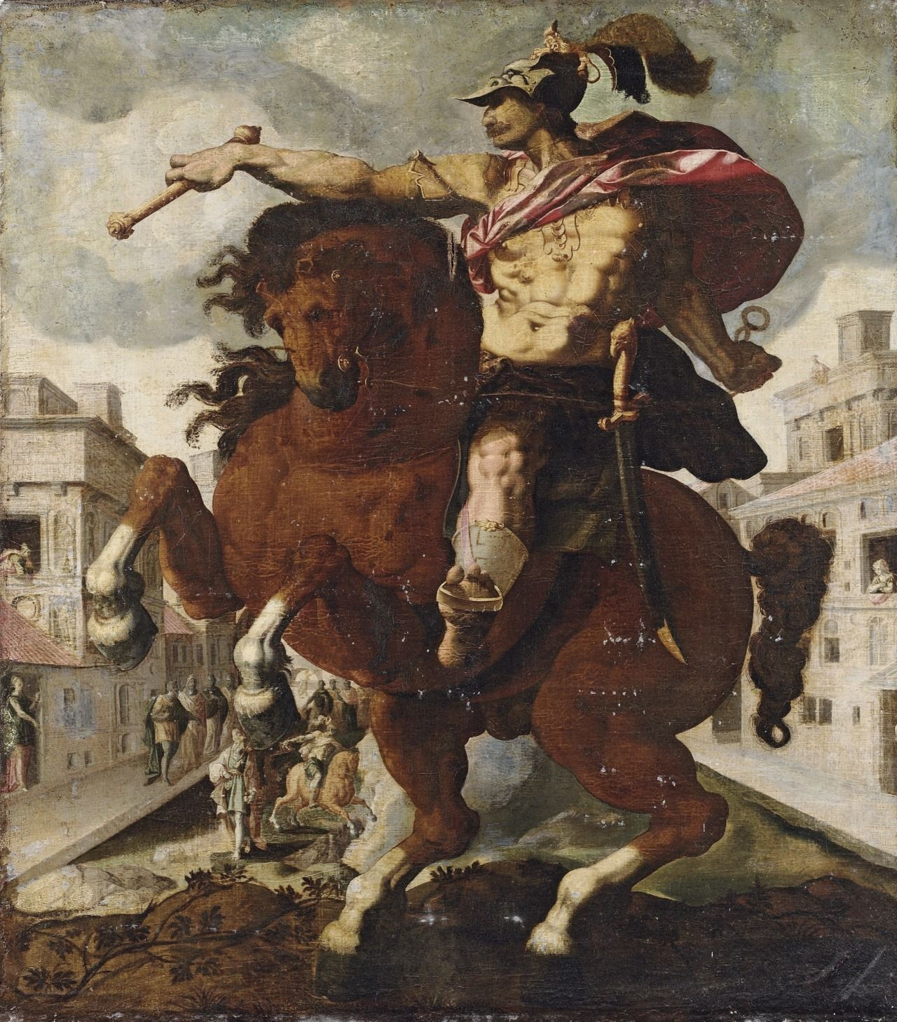 .:. Marcus Curtius, oil on canvas, 119 × 104 cm. Obviously based on Hendrick Goltzius' print from the 1586 series The Roman Heroes.
