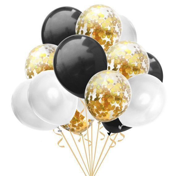 Schwarzgold-Konfetti-Luftballons, Gold-Konfetti-Luftballons, Gold-Schwarz-Party-Dekor, Abschlussballons, Hochzeit Baby Shower Geburtstag Bachelorette -...