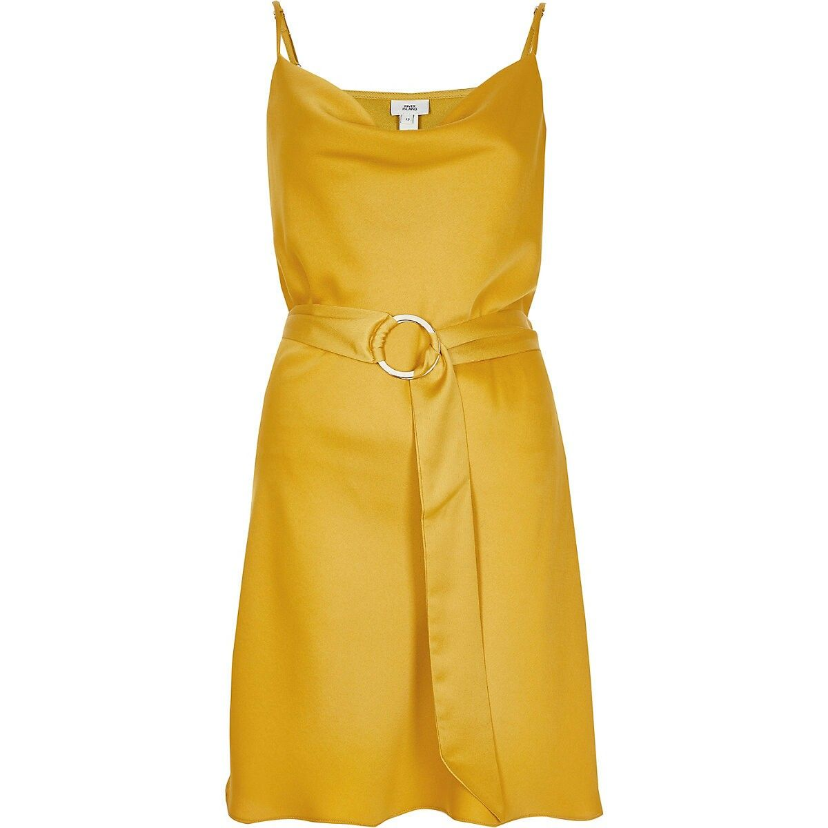 68114c5ceb302 Yellow cowl neck belted slip dress | Short Dresses x2 in 2019 ...