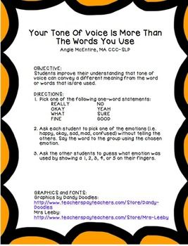 Your Tone Of Voice Is More Than The Words You Use Social Skills Communication Activities Social Skills Groups