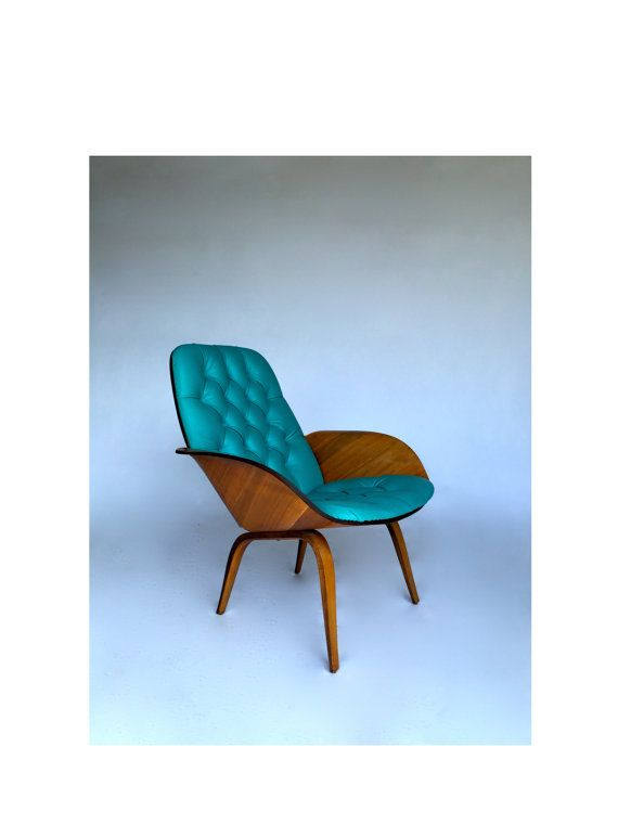 Rare Vintage George Mulhauser Plycraft Mr Chair Bentwood Base Lounge Chair  Mid Century Modern