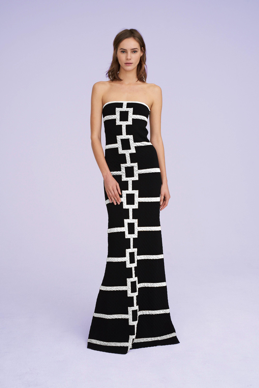 Aubrey Strapless Black Tie Gowns Geometric Maxi Dress Strapless Dress Formal Black Tie Gown Gowns [ 3000 x 2002 Pixel ]