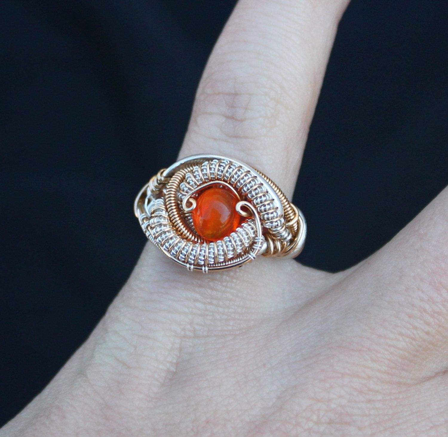 Fire Opal ring // wire wrapped ring// heady wrap size 4.5// handmade ...