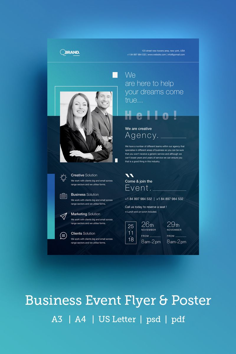 Clean Conference Event Flyer Poster Corporate Identity