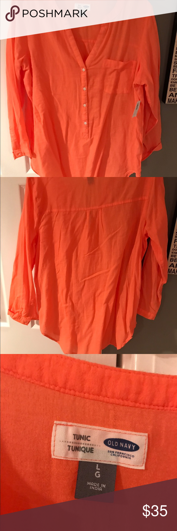 NWT linen top. Bring any offers! NWT linen top. No stains/tears/odor. Shirt is a warm coral color. New and clean but may need a quick ironing then will be fine. Bring any offers! Old Navy Tops