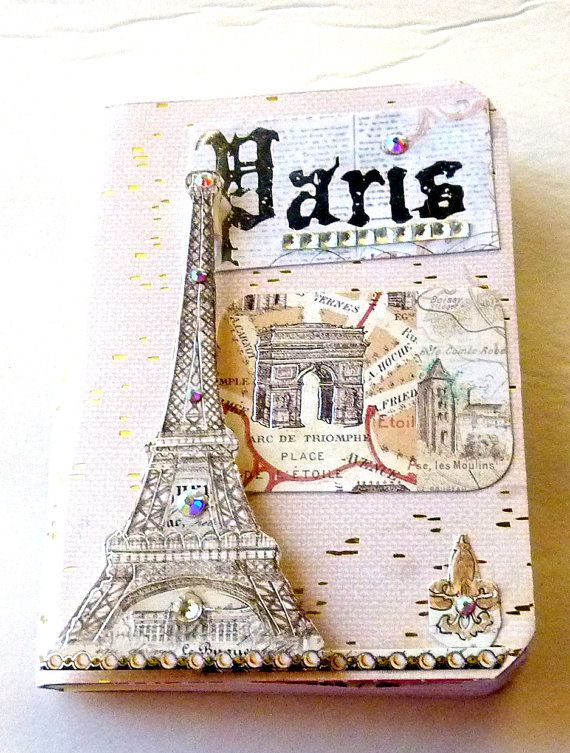 Travel journal Silver Paris handmade vintage mixed media art smash book artist book travel planners