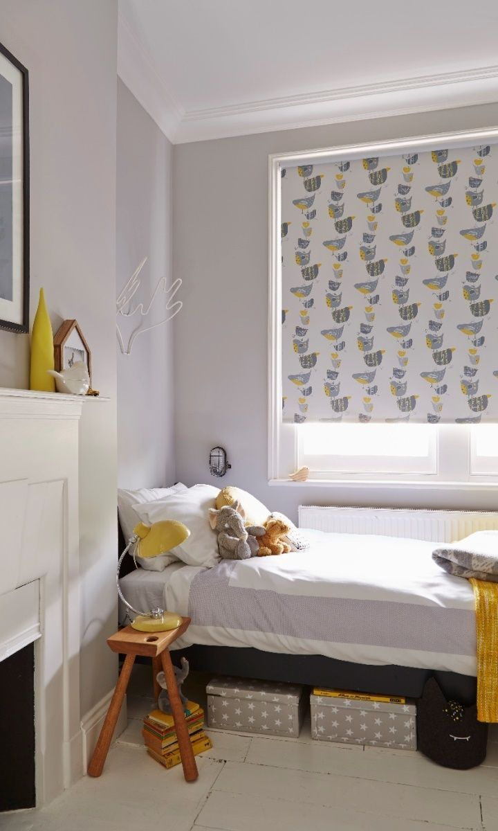 Fun patterns and plains in grey white and yellow. Create a beautiful understated Scandi style children's room. Our made to measure Spring Grey Blackout Roller blind adds a lovely finishing touch.
