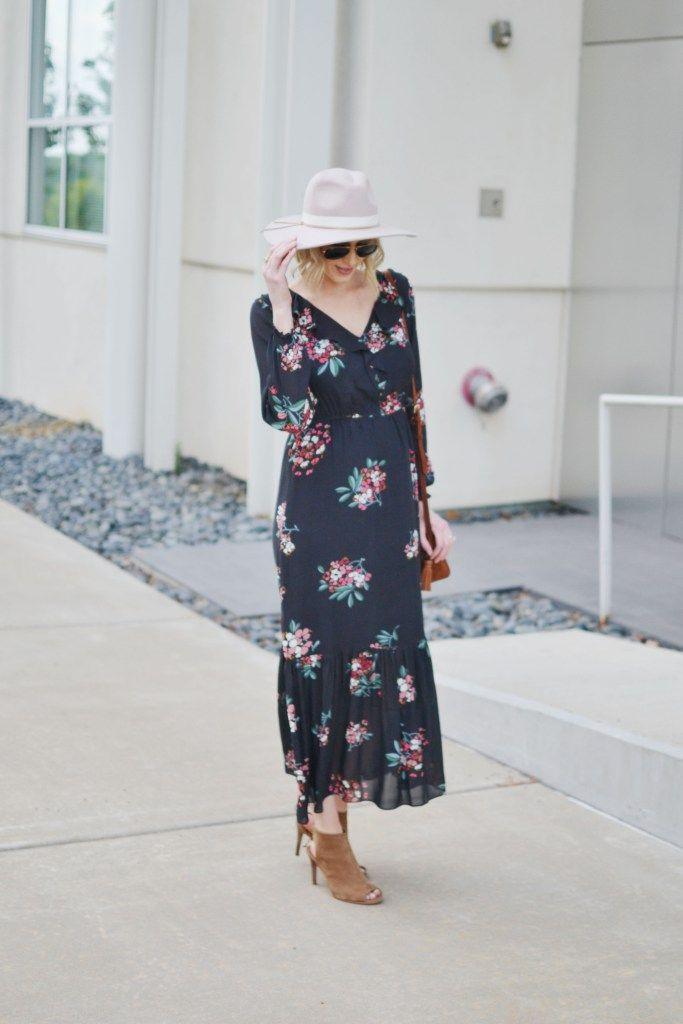 892b043c27 LOFT floral boho midi dress with hat