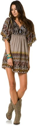 ANGIE EMBROIDERED FLUTTER SLEEVE DRESS | Swell.com