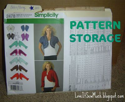 Love It Sew Much!: PATTERN STORAGE   Sewing tutorials and tips (SSE ...