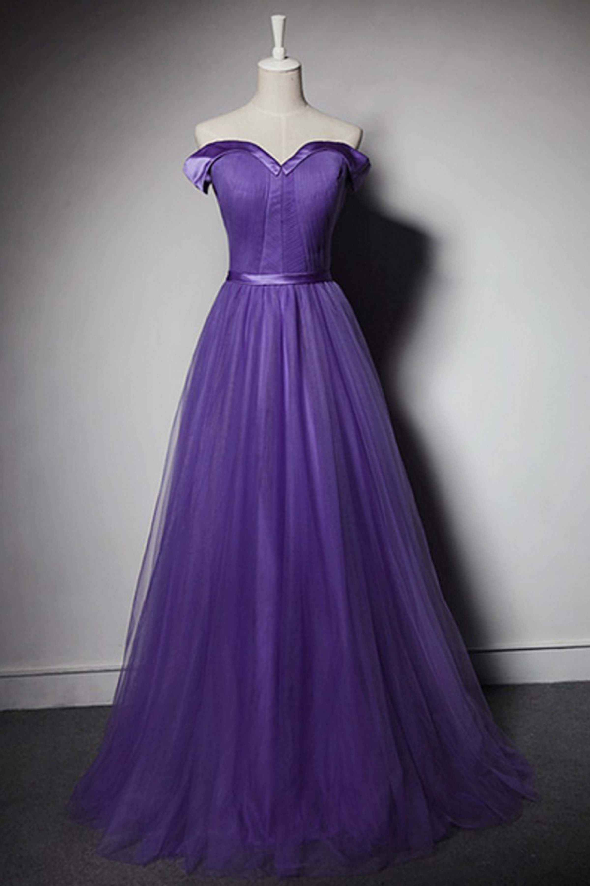 Purple tulle offshoulder long formal dress evening dresses prom