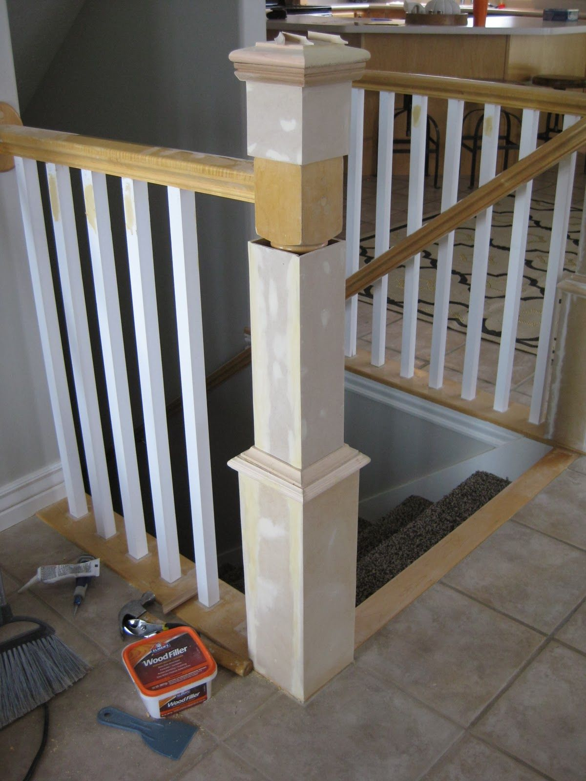 Update A Banister With Diy Newel Post And Spindles Tda   Stair Posts And Spindles   Landing   Natural Hardwood   Rectangular   Traditional   Wood