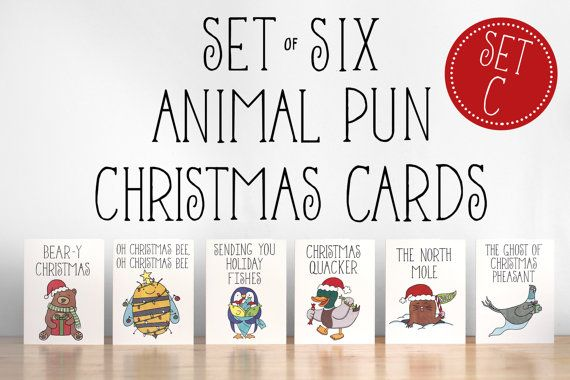 Christmas Pun.Set Of Six 6 Animal Pun Christmas Cards Set By