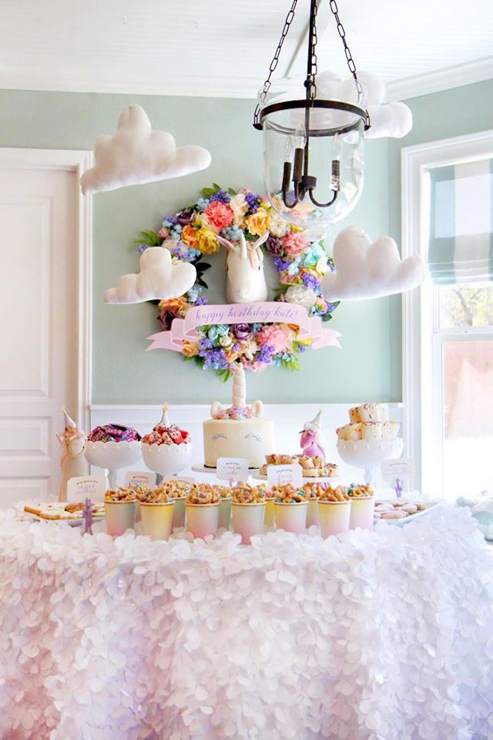 Unicorn Themed Dessert Table From A Magical Art Birthday Party On Karas Ideas