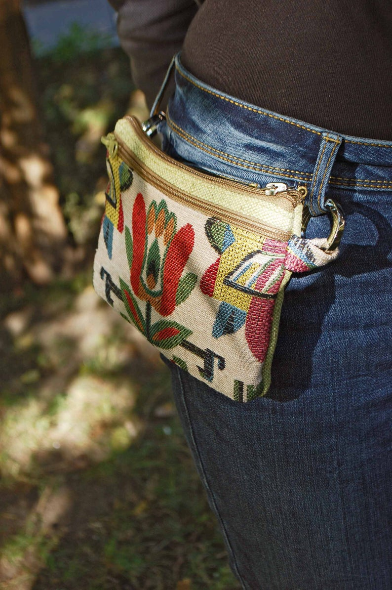 Festival Travel Pocket Waist Bag, Ethnic Burlap Be