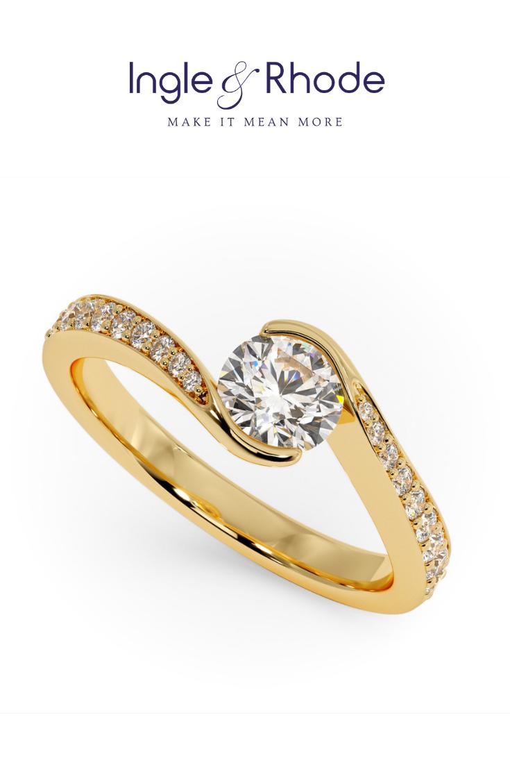 RHAPSODY With Diamond Shoulders Round diamond engagement
