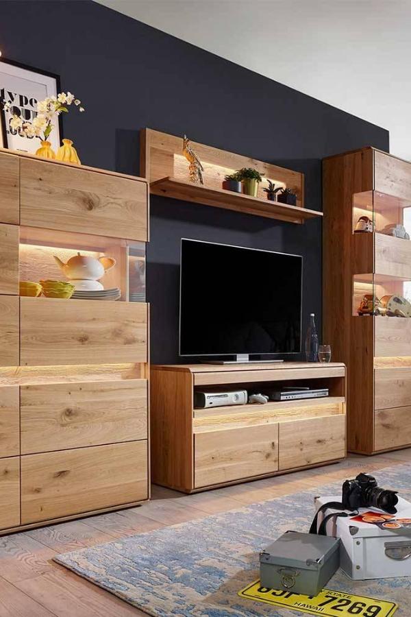 Tv Wohnwand Eridia Massiv Geburstet Und Geolt Mit Led Beleuchtung In 2020 Mobel Wohnzimmer Wohnen Wohnwand