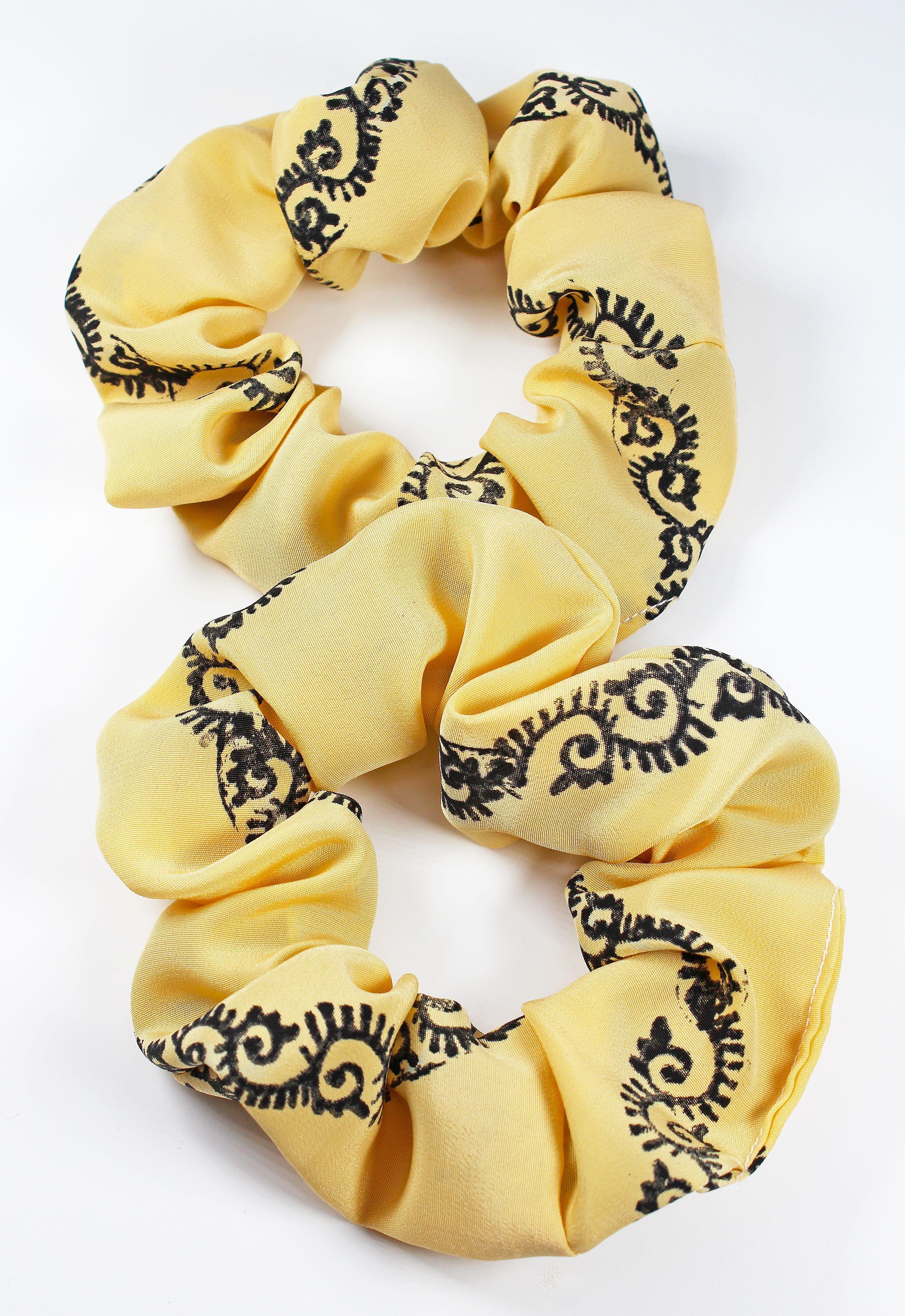 Hand Painted Swirl Print Hair Scrunchie #hairscrunchie Pull your hair up with our Hand Painted Swirl Print Hair Scrunchie. Hair scrunchie, hair scrunchies, hair scrunchy, leaf, black, white, etsy, hair ties, ponytail, hair tied back, top knot favors, hair bun, hairstyle, hairdo, party favors, handmade #hairscrunchie