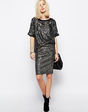 Religion All Over Sequin Pencil Skirt Co-Ord