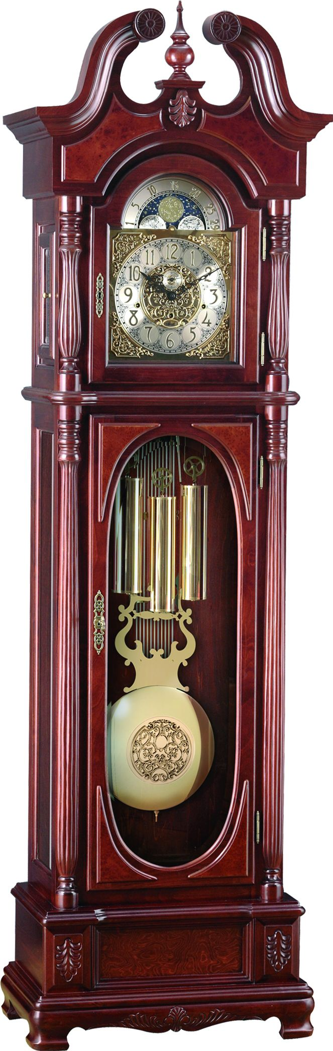 Hermle Triple Chiming Cherry Finish Charlottesville 01171 N91161 Grandfather Clock Clock Antique Wall Clock