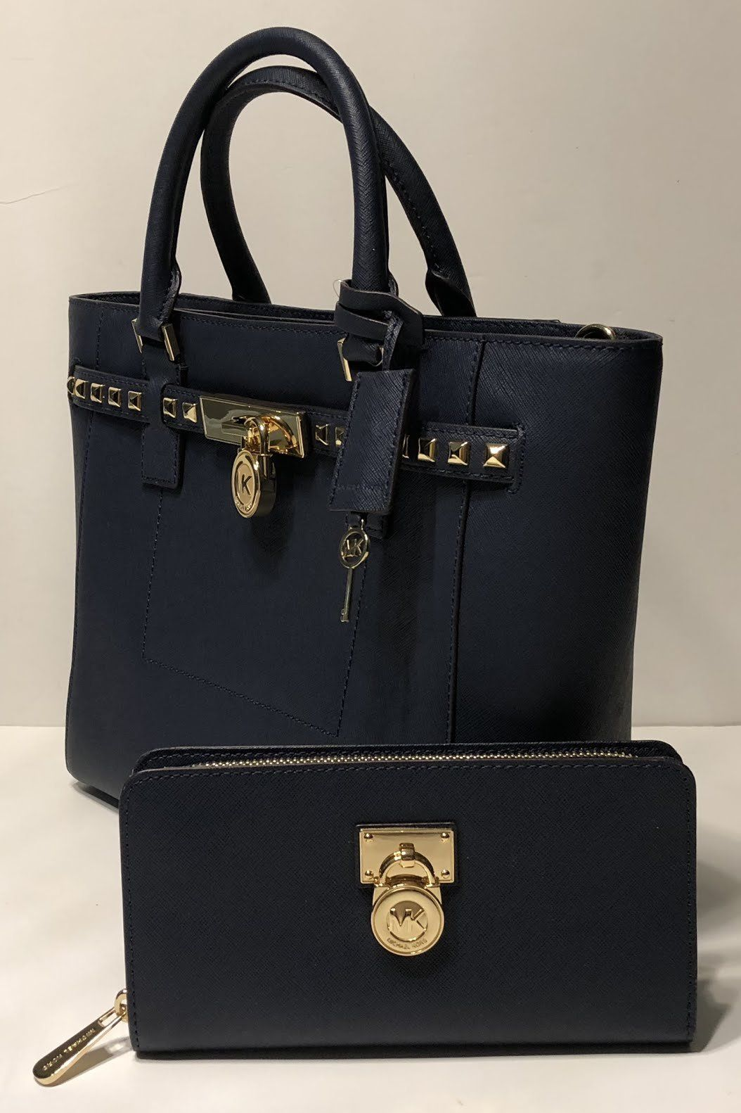 8403102915fc MICHAEL Michael Kors Hamilton Traveler Studded LG TZ Tote bundled with Michael  Kors Hamilton Traveler Zip Around Wallet Navy ** Details can be found by ...