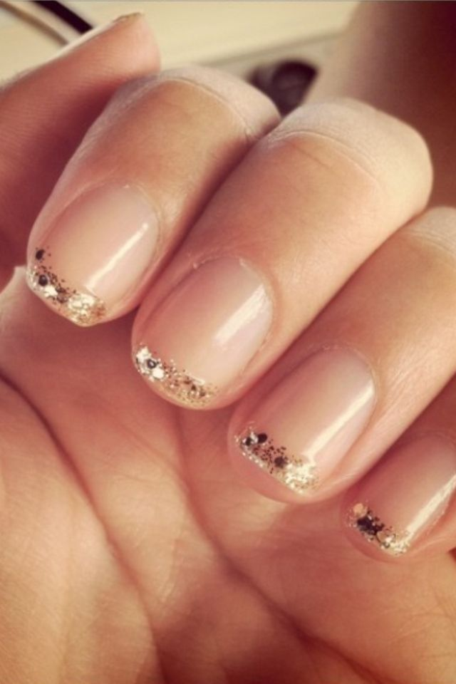 Pin by sarah beth chapman on ideas for the office pinterest gold glitter french tip nail design prinsesfo Images