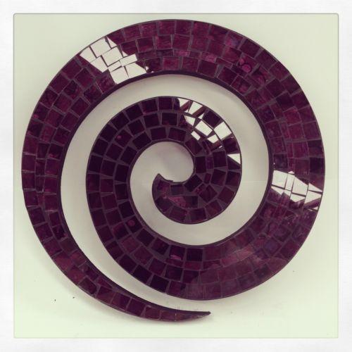 Purple Coru Swirl Mosaic Wall Hanging Art Funky Boho Cute Handmade