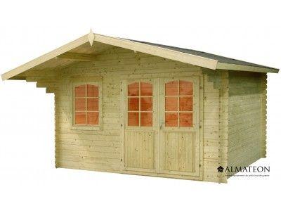 Chalet en sapin, de 14.44 m². Modèle : WW-92. Dimensions : 380 x 380 x 251 cm.