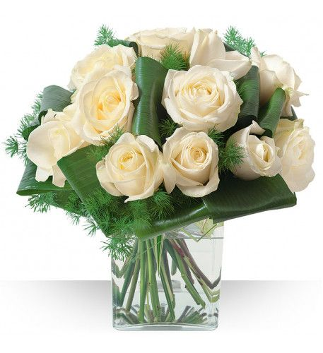 White #blooms decorate in glass vase