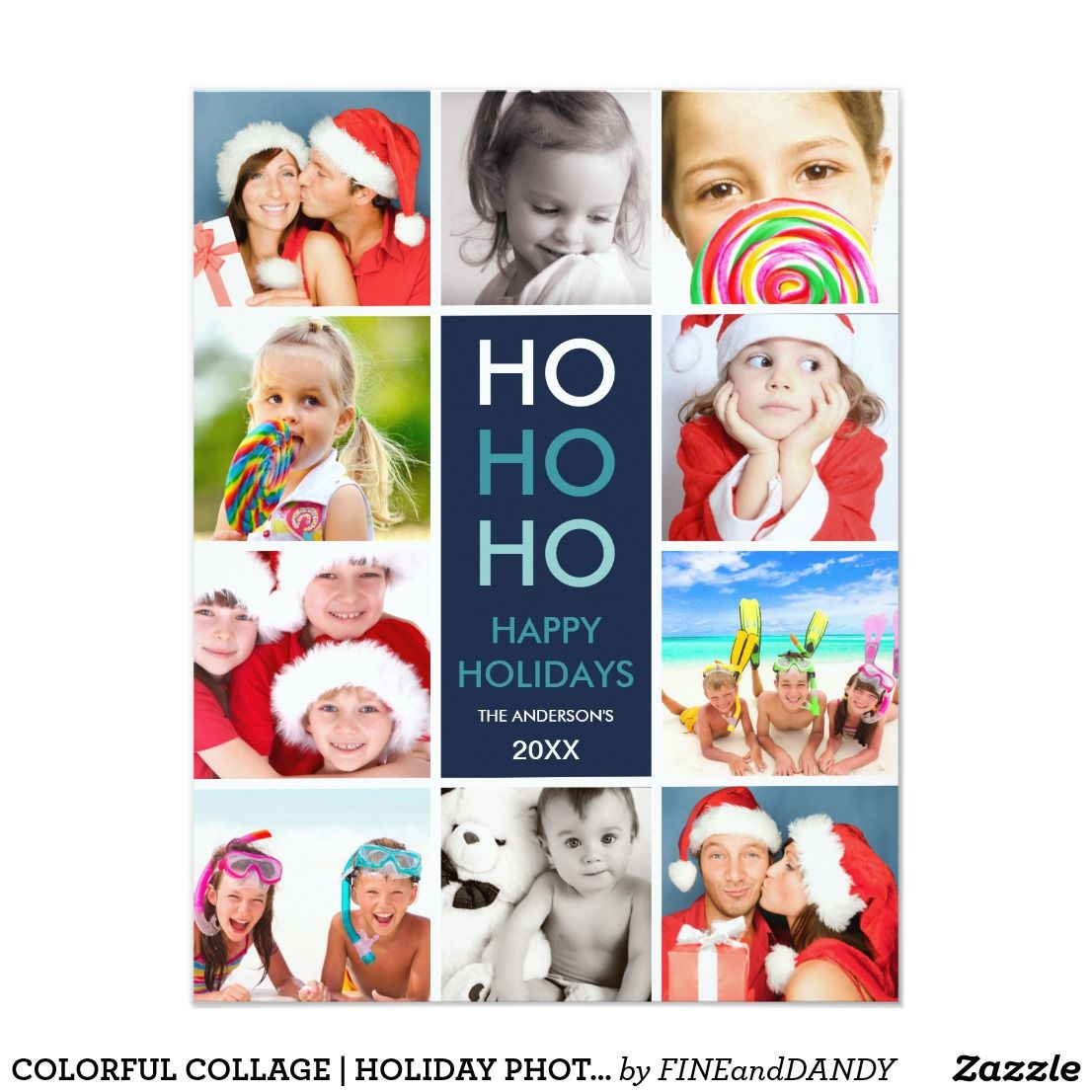 Colorful collage holiday photo card