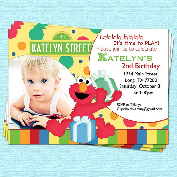 Sesame Street Invitation Elmo Inspired Birthday By CupcakeDream 1400