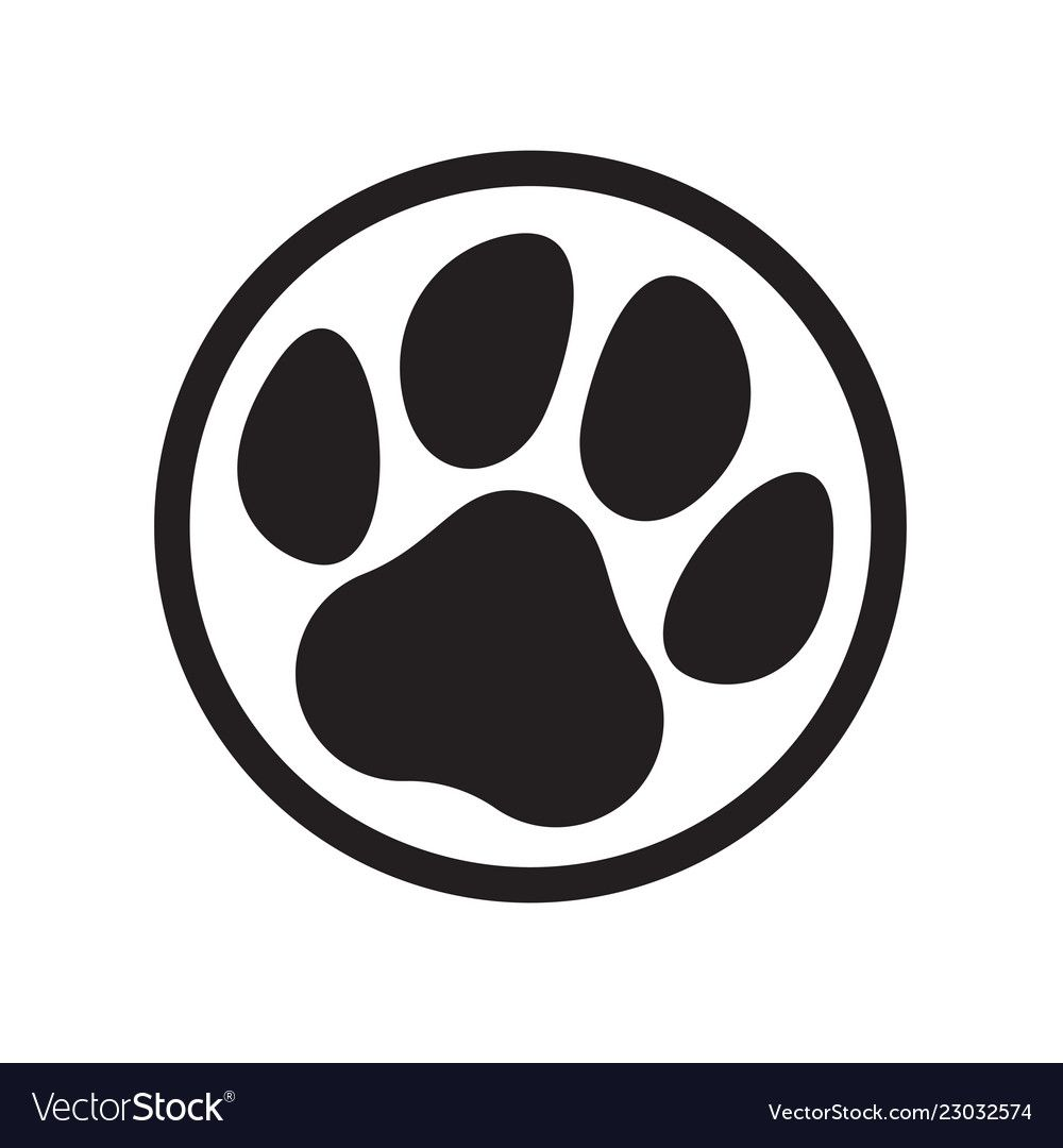 Paw Logo Of Cat Or Dog Animal Pet Vector Paw Footprint In Circle Icon Download A Free Preview Or High Quality Adobe Illustra Paw Logo Cat Paw Art Dog Paw Art