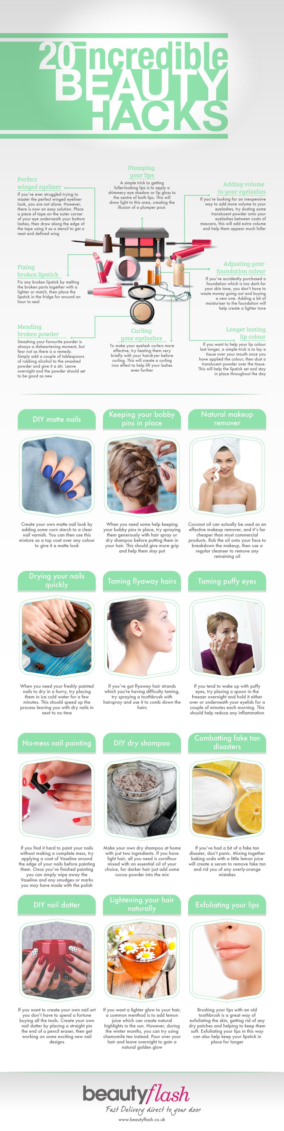 20 Incredible Beauty Hacks #Infographic