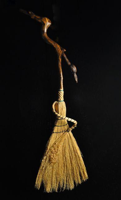 Appalachian handmade Broom corn hearth sweeper by Mark Hendry for