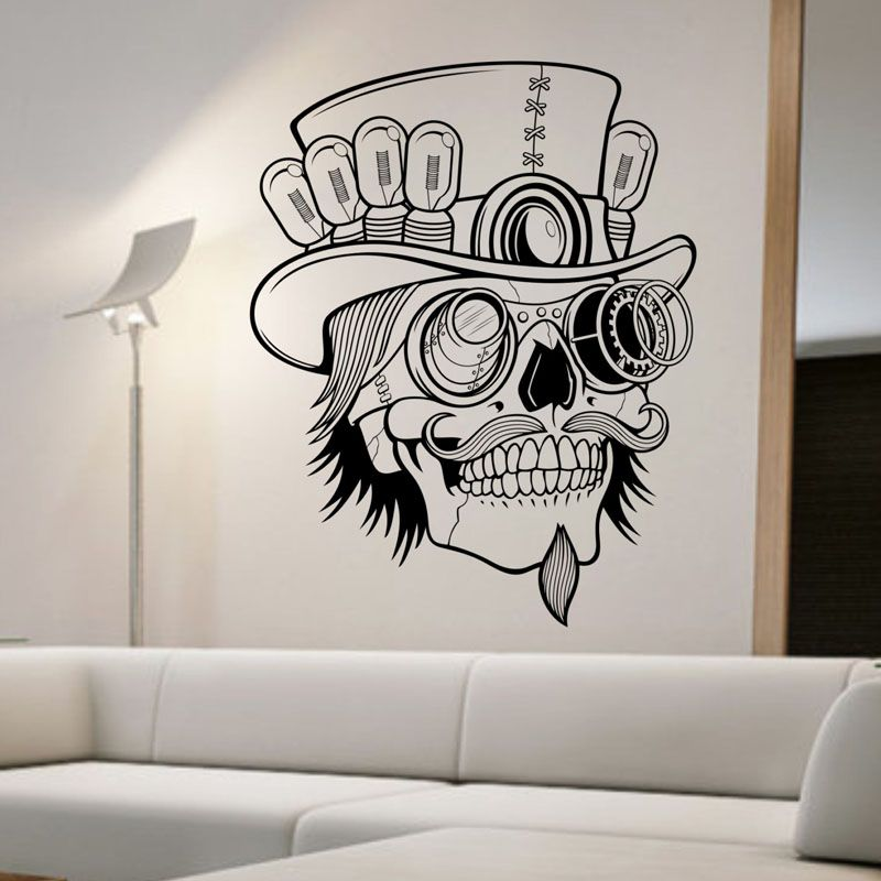 Awoo Skull Wall Sticker Skull Punk Rock Creative Personality Removable Vinyl Wall Art Stickers S Sticker Wall Art Removable Vinyl Wall Art Vinyl Wall Stickers