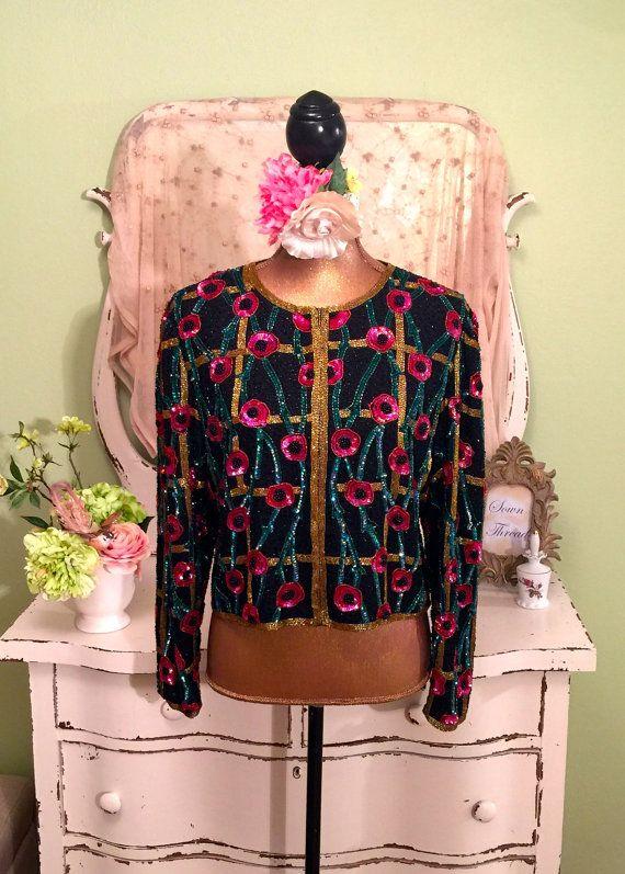 5c84a2b9 Poppy Sequin Jacket, Beaded Floral, Short Crop Coat, M, Sequined ...