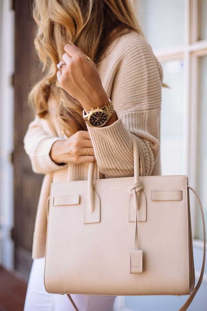 Tan Knit Sweater - Yves Saint Laurent Handbag